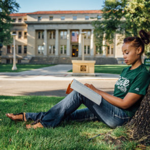 african american CSU student studying